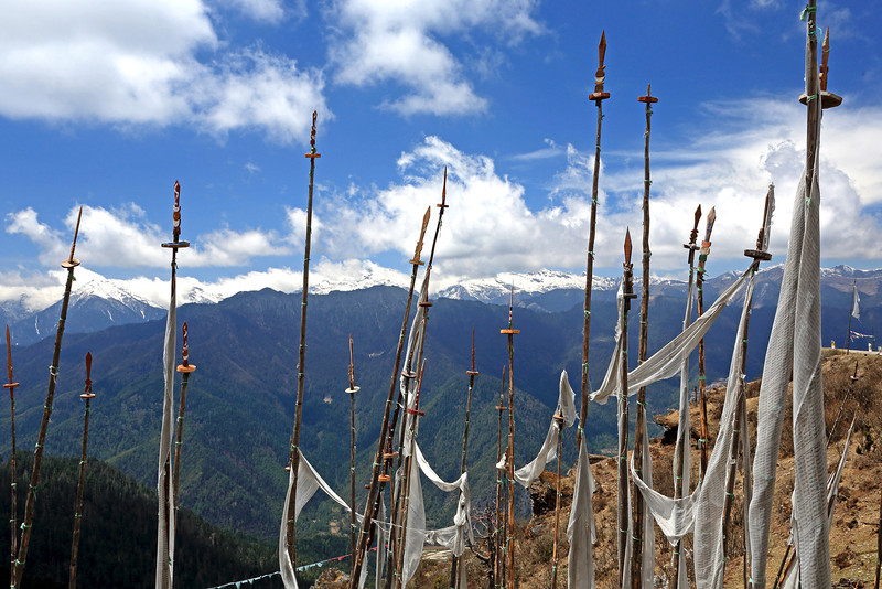 View from Chele La pass (3988m) - the highest road pass in Bhutan